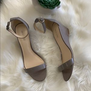 Glossy Gray Nine West Wedge  Sandals